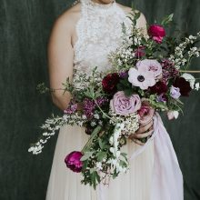 Student bridal bouquet from Whidbey Flower Workshop by Wild Child Flower Co