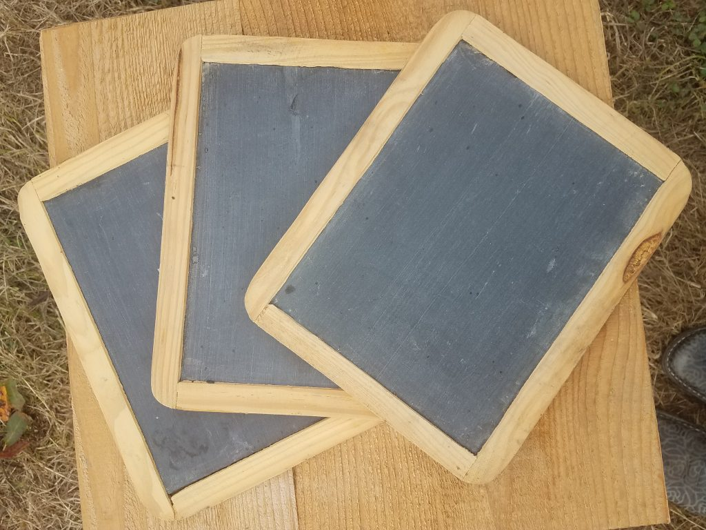 Antique chalk boards for Whidbey Island wedding rental