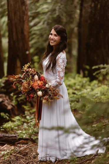 Bridal bouquet in orange and caramel with trailing ribbons for a Mt. Ranier destination elopement