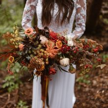 Destination elopement bridal bouquet with autumn flowers by Tobey Nelson Events