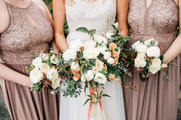 Bride and bridesmaid bouquets in white, blush, neutral and grey for a spring destination wedding on Whidbey Island