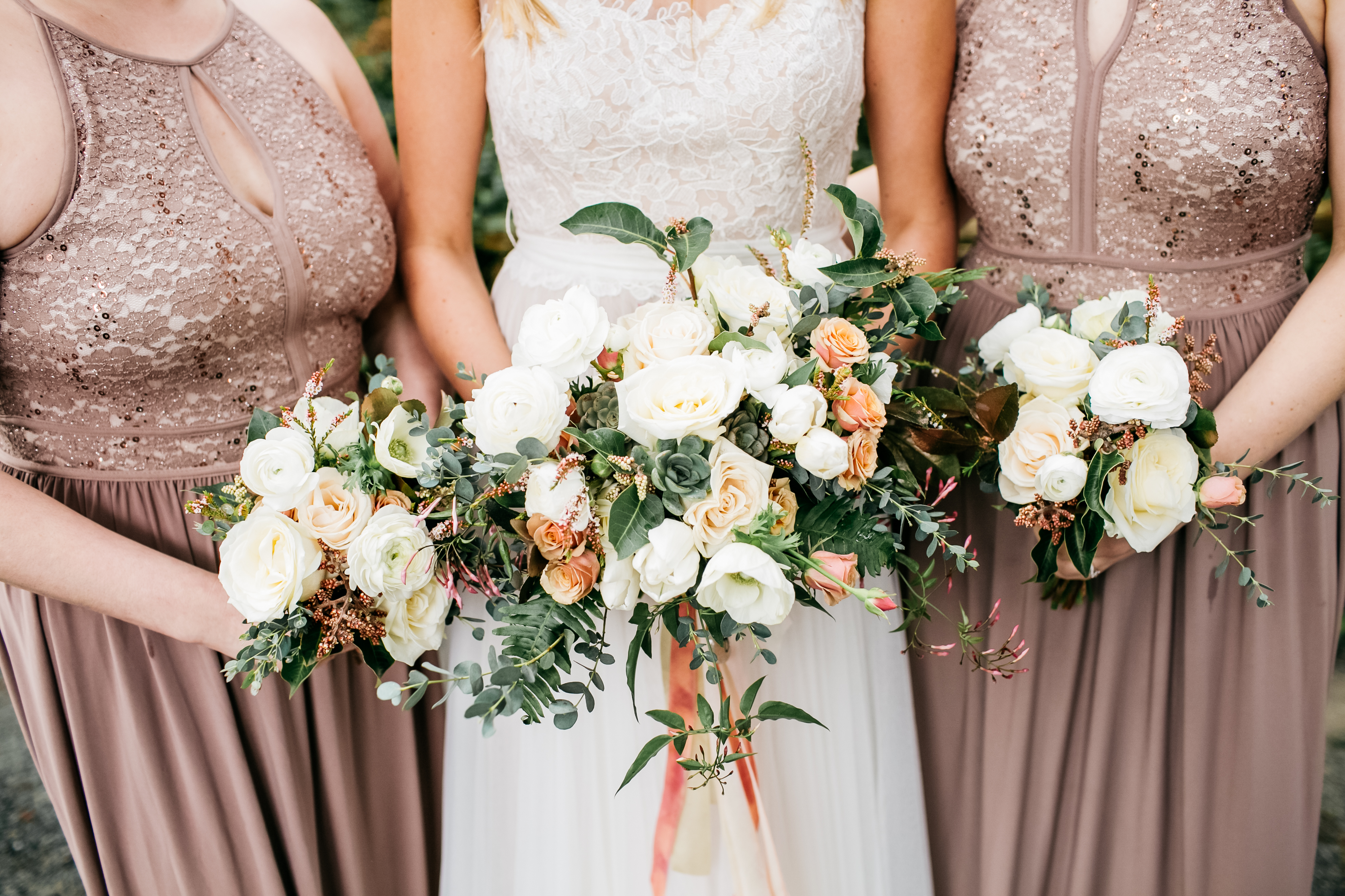 Whidbey island wedding flowers by tobey nelson photography by catie bride and bridesmaid bouquets in white blush neutral and grey for a spring destination mightylinksfo