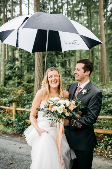 Rainy day wedding at Fireseed Catering on Whidbey Island