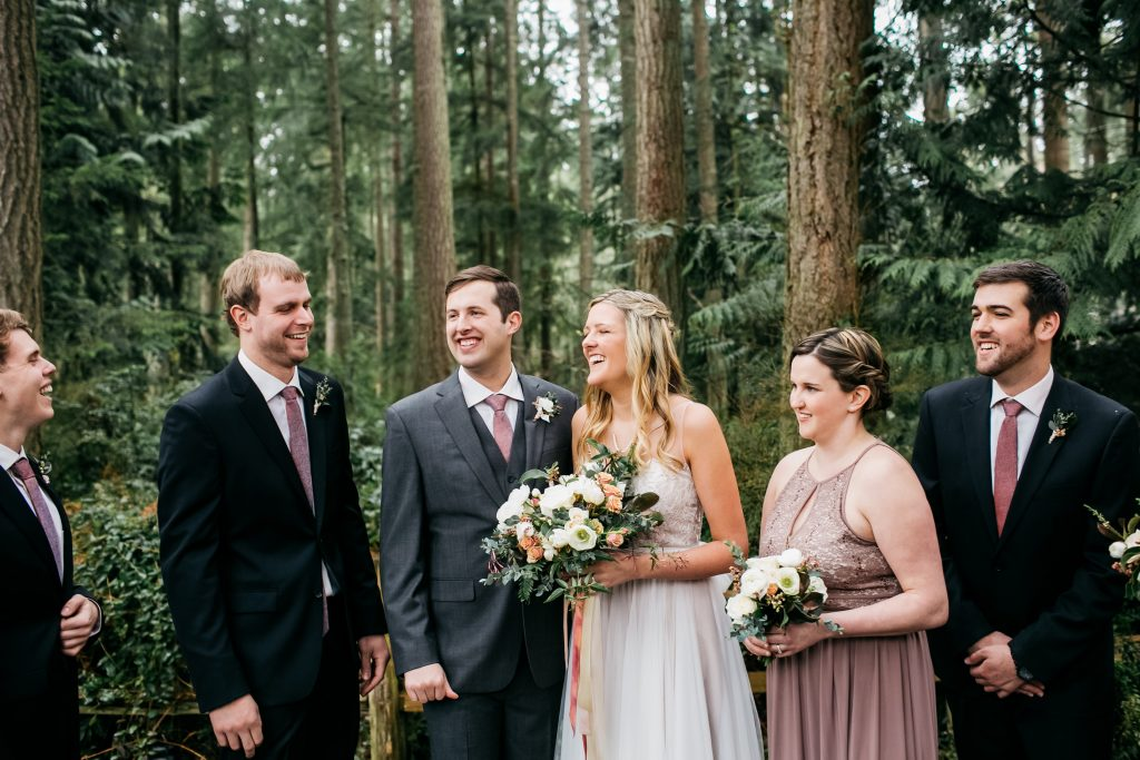 Whidbey Island woods wedding bridal party