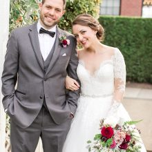 The happy couple with their Hollywood Schoolhouse Wedding flowers by Tobey Nelson