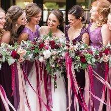 Bride and bridesmaid bouquets with Dahlias, Roses and trailing Amaranth | Woodinville wedding flowers by Tobey Nelson