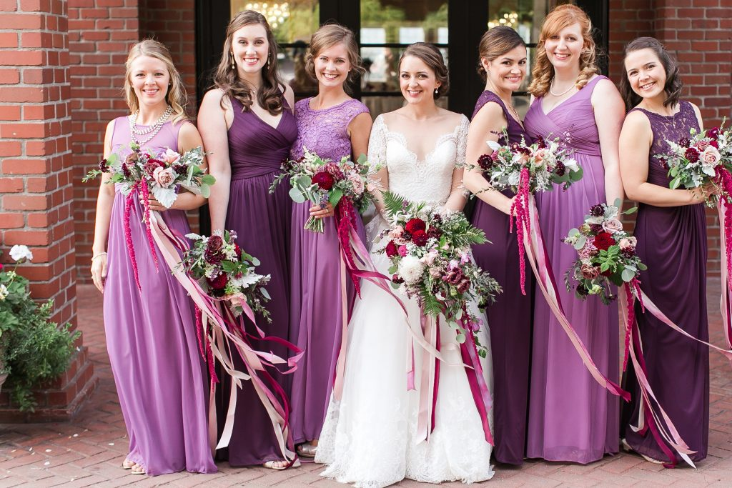 Bridal party flowers | purple bridesmaid dresses | Woodinville wedding flowers by Tobey Nelson Events