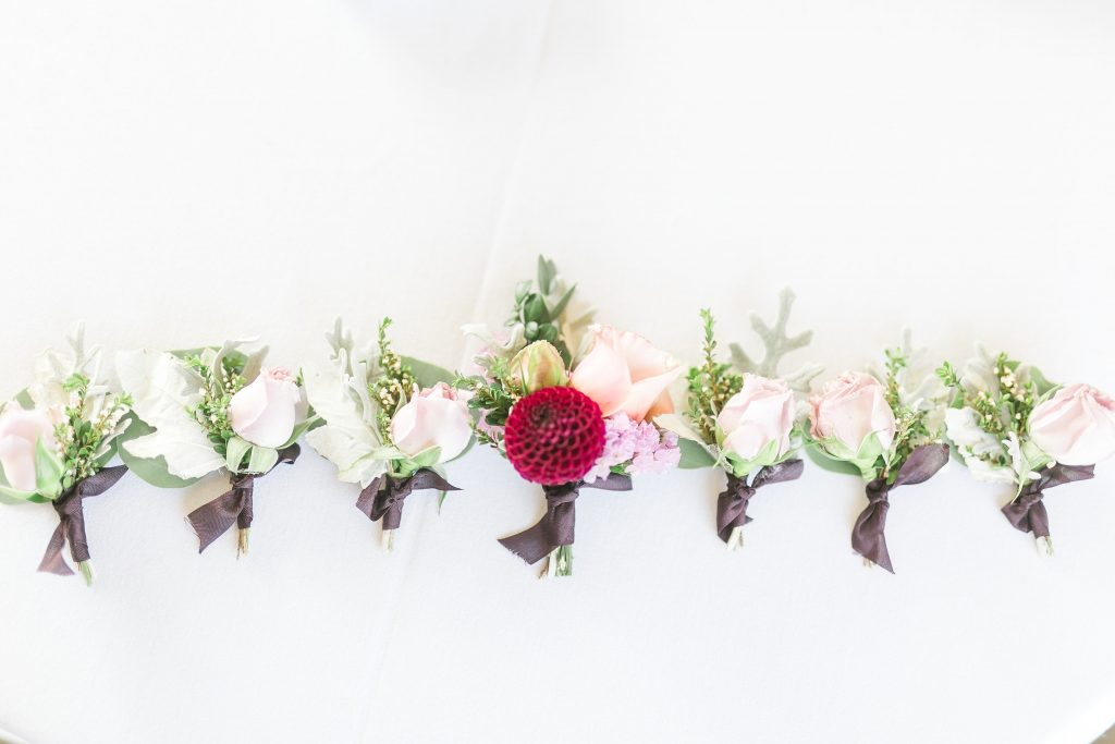 Boutonnieres in plum, lavender and white | Woodinville wedding flowers by Tobey Nelson Events