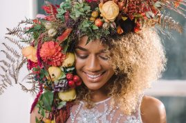 Botanical headpiece with Roses and Dahlias