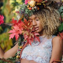 Floral headdress with fall foliage and fruits