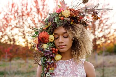 Botanical headpiece with flowers and fruit