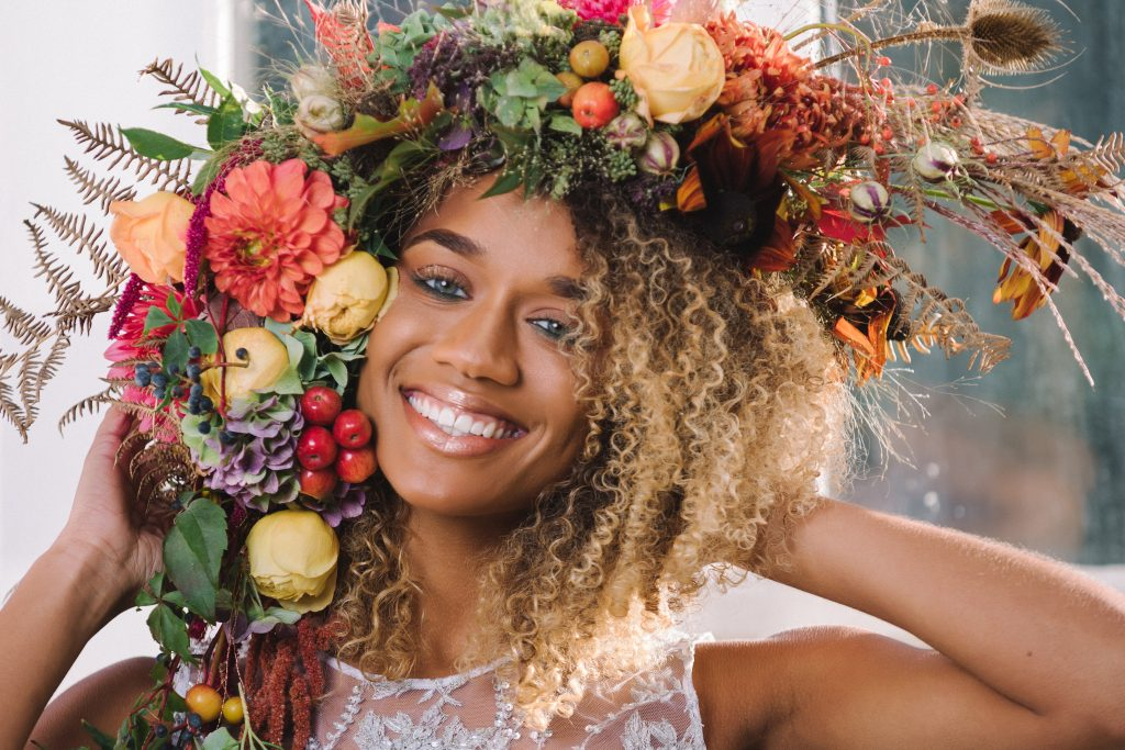 autumn flower headpiece for a Floral Couture Photoshoot