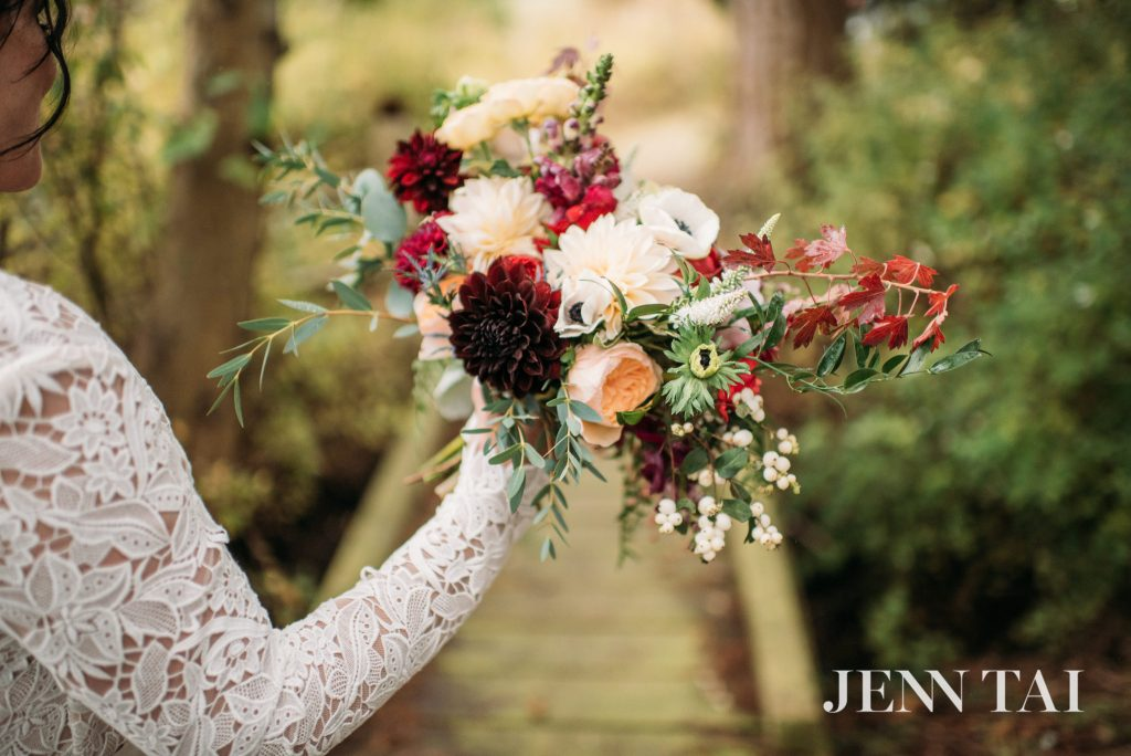 Bridal bouquet by Tobey Nelson for a Whidbey Island beach wedding