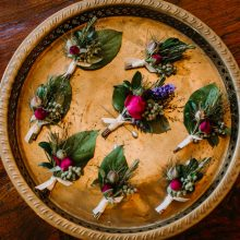 Boutonnieres with Rose and Salal for Whidbey Island Wedding | Tobey Nelson Events