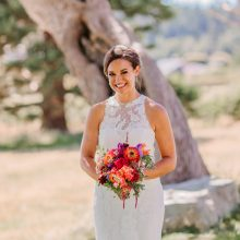Colorful Jewel Toned wedding flower bouquet for Whidbey Island wedding | Tobey Nelson Events