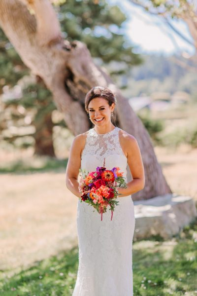 Jewel Toned summer wedding flower bouquet for Whidbey Island wedding | Tobey Nelson Events