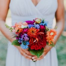 Jewel tone bridal bouquet with Dahlia and Zinnia for Whidbey Island Wedding | Tobey Nelson Events | Big Day Photography