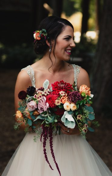 Whidbey Island Summer Wedding bride with bouquet