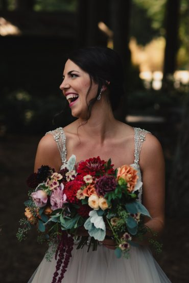 Bridal bouquet with summer wedding flowers including Dahlia, Zinnia, Rose, Scabiosa by Tobey Nelson Events