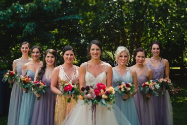 Bridal party bouquets for Whidbey Island Summer Wedding at Fireseed Catering