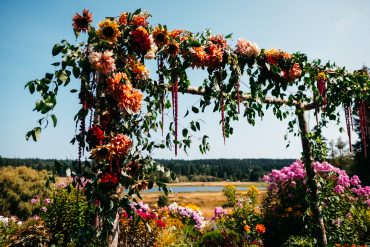 Whidbey Island Summer Wedding arbor flowers