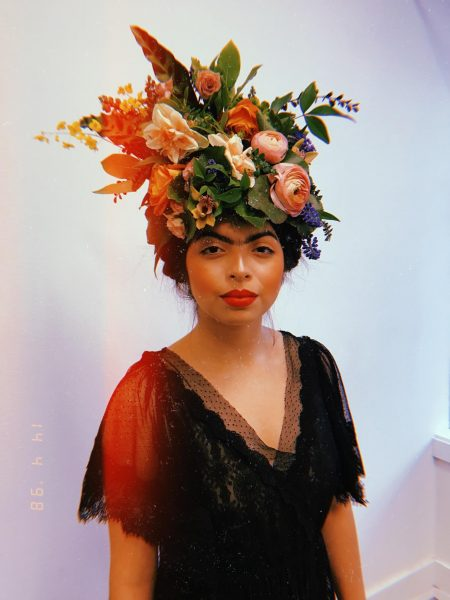 Floral Headpiece with the feeling of Frida Kahlo | Wearable floral art by Tobey Nelson