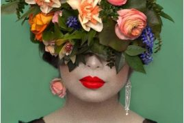 Floral Headpiece for Art to Life exhibit at Tacoma Art Museum by Tobey Nelson