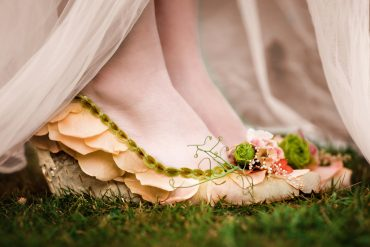 Floral shoe | Rose petals, birch bark, Rhubarb seed and grape curl | Floral Couture by Tobey Nelson | image by Suzanne Rothmeyer Photography