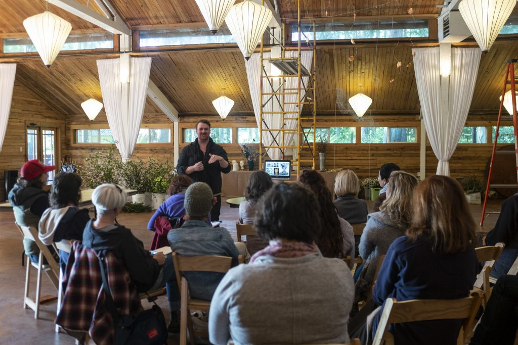 Joseph Massie teaches at the Whidbey Flower Workshop at Fireseed Catering on Whidbey Island