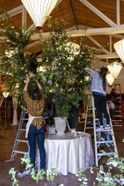 Students creating large scale foam free floral installation at Whidbey Flower Workshop
