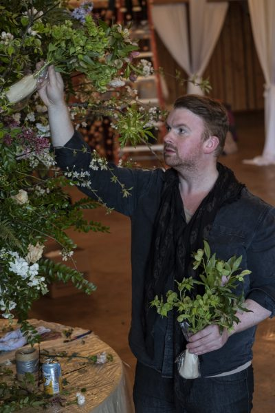 Joseph Massie teaches large scale foam free floral installations at the Whidbey Flower Workshop