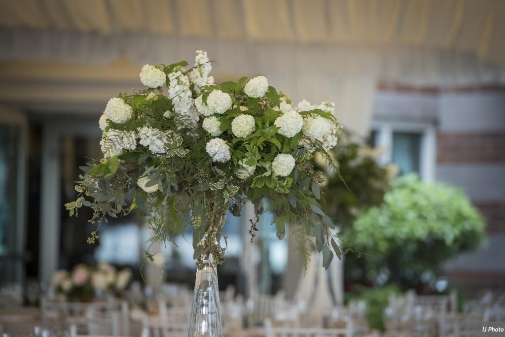Elevated Centerpiece with locally grown Viburnum, Roses and Peonies