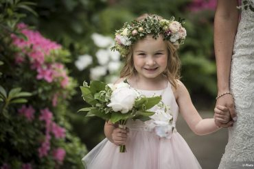 Flower Girl with crown and bouquet by Tobey Nelson Events