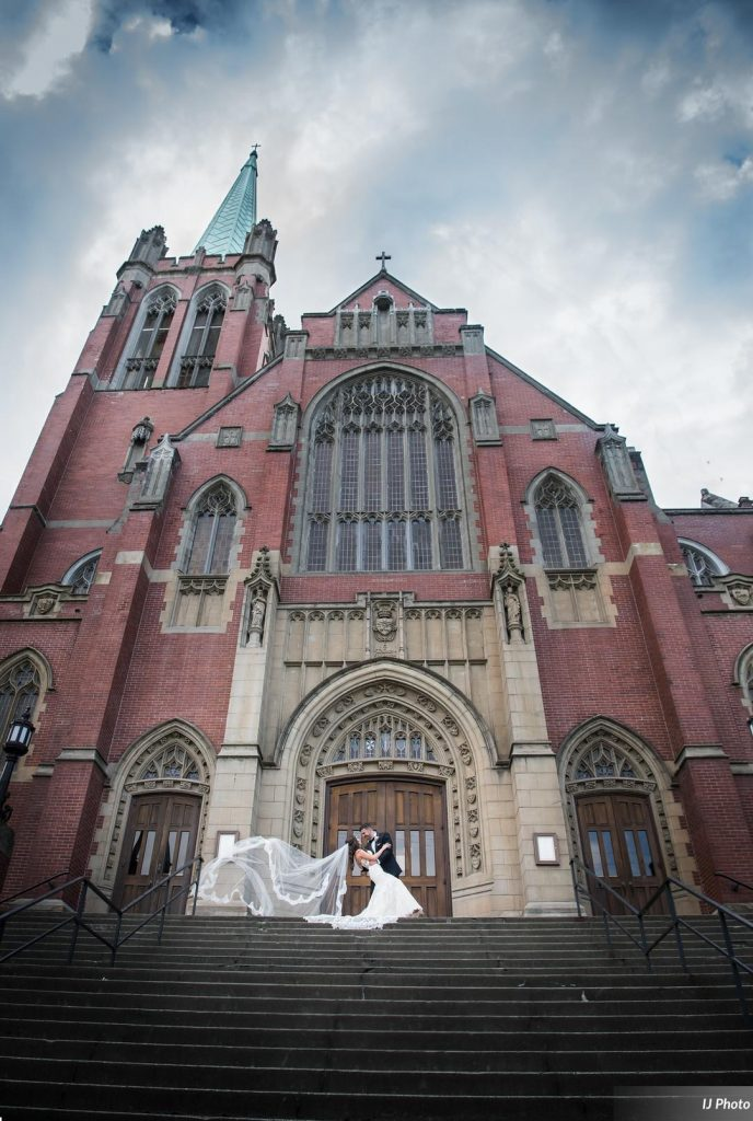 Wedding couple at Blessed Sacrament Church in Seattle WA