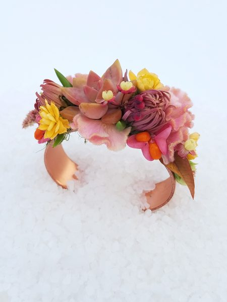 Botanical Cuff Bracelet with Succulents and flowers in blush and rose by Tobey Nelson Events