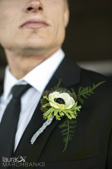 Panda Anemone Boutonniere | Spring Wedding at Seattle's Canlis Restaurant in blush, white and black | Flowers by Tobey Nelson | photography by Laura Marchbanks
