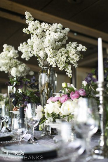 Spring Wedding at Seattle's Canlis Restaurant in blush, white and black | Flowers by Tobey Nelson | photography by Laura Marchbanks