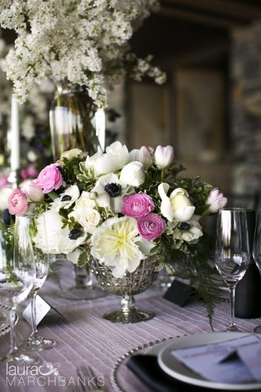 Peony & Ranunculus Centerpiece | Spring Wedding at Seattle's Canlis Restaurant in blush, white and black | Flowers by Tobey Nelson | photography by Laura Marchbanks