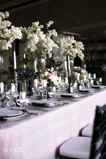 Spring Wedding at Seattle's Canlis Restaurant in blush, white and black   Flowers by Tobey Nelson   photography by Laura Marchbanks