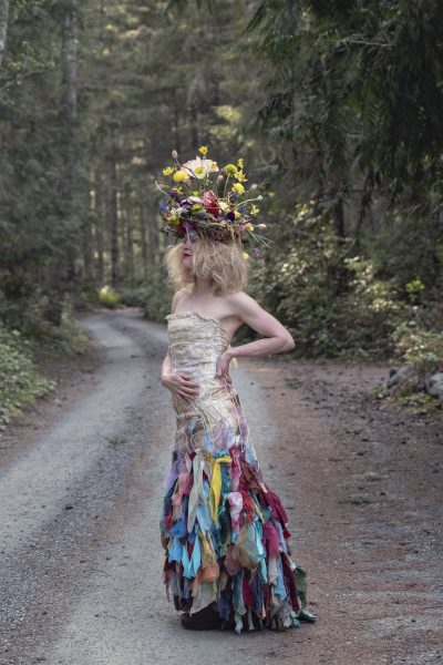 Foam free floral headdress by Whidbey Flower Workshop student gown by WaiChing Studio