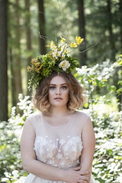 Sustainable floristry headpiece by Whidbey Workshop student Jacklily Floral. Gown by MeaMarie Bridal Atelier