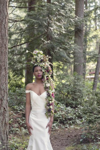 Foam-free floral headpiece by Whidbey Flower workshop student Linnaea Farm Design. Gown by MeaMarie Bridal Atelier.