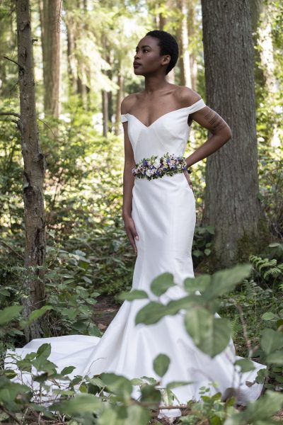 Floral belt by Whidbey Flower Workshop student Jane Hudon, gown by MeaMarie Bridal Atelier