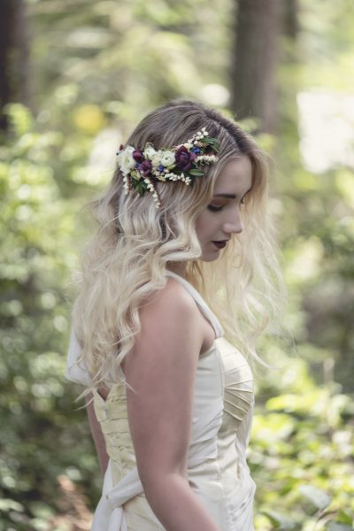 Sweet floral headpiece by Whidbey Workshop Student Jane Hudon. Gown by MeaMarie Bridal