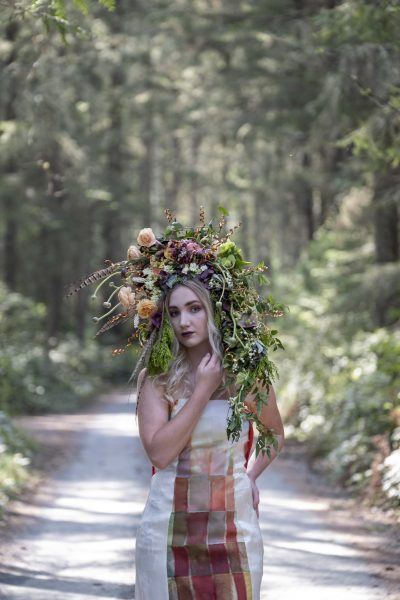 Foam-free floral headpiece by Whidbey Flower Workshop student Rebecca Raymond, gown by Wai Ching Studio