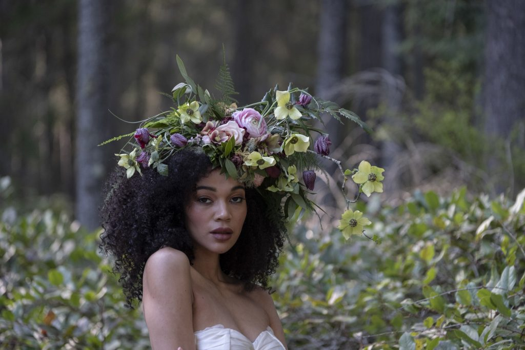 Foam-free floral headpiece by Tobey Nelson, producer of Whidbey Flower Workshop