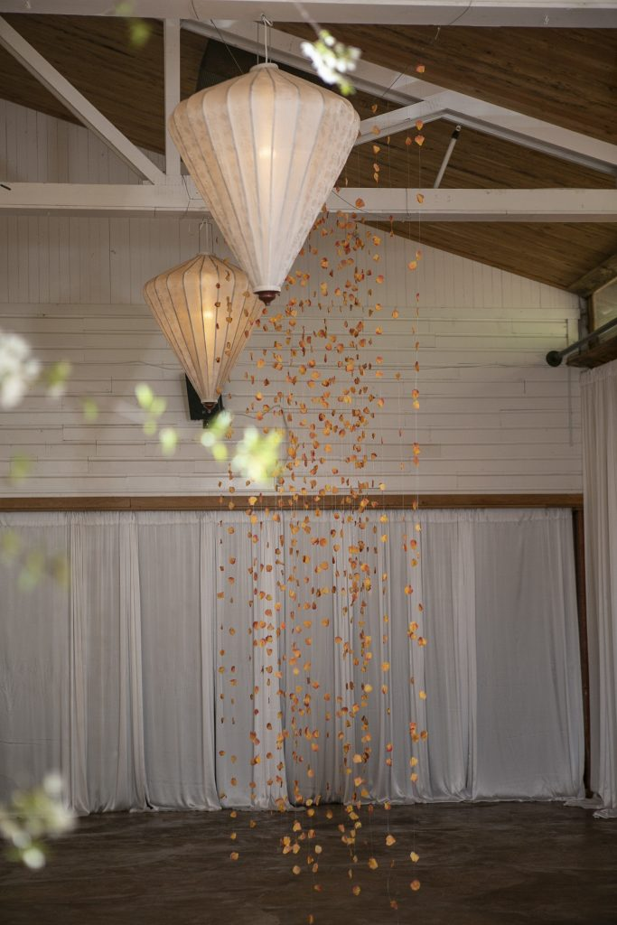Rose petal wedding ceremony backdrop by Whidbey Flower Workshop