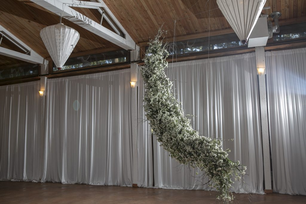 Suspended foam-free floral installation at Fireseed Catering