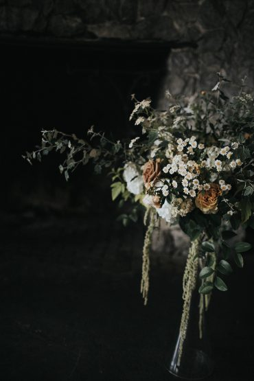 San Juan Island wedding flowers by Tobey Nelson | Tent greenery and Feverfew & Roses | image by Sullivan & Sullivan