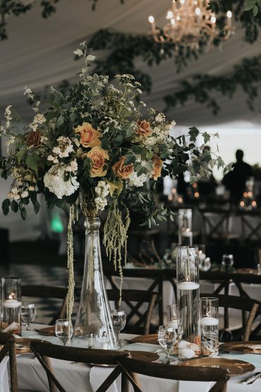 San Juan Island wedding flowers by Tobey Nelson | elevated centerpieces feature Feverfew, Roses, Stock & Poplar | image by Sullivan & Sullivan